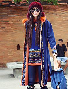 Dames Boho Winter Jas,Casual/Dagelijks Capuchon-Lange mouw Blauw Geborduurd Wol / Polyester