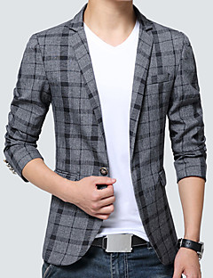 Men's Casual/Daily Work Simple Vintage Spring Fall Blazer,Color Block Shirt Collar Long Sleeve Regular Cotton Acrylic Polyester