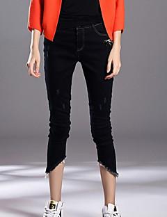 Damer Enkel Mikroelastisk Tynde Jeans Bukser,Alm. taljede Perler Ensfarvet