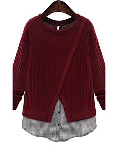 Women's Casual/Daily Simple Regular PulloverSolid Beige / Gray / Purple Round Neck Long Sleeve Cotton / Winter Medium