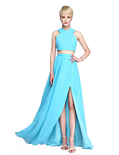 2017 Lanting Bride® Floor-length Chiffon Two Pieces Furcal Bridesmaid Dress - A-line Straps with Split Front Criss Cross Ruching