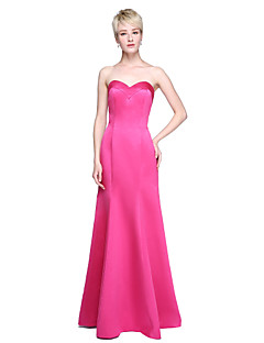 2017 Lanting Bride® Floor-length Satin Open Back / Wrap Included Bridesmaid Dress - Trumpet / Mermaid Sweetheart with Pleats