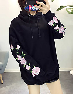 Women's Casual/Daily Sports Active Simple Hoodie Print Embroidered Turtleneck Micro-elastic Rayon Polyester Long Sleeve Fall Winter