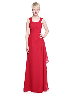 Ołówkowa / Kolumnowa Sięgająca podłoża Szyfon Sukienka dla druhny z Guziki Plisy przez LAN TING BRIDE®