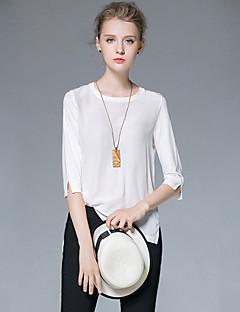 Höst Enfärgad Trekvartsärm Ledigt/vardag T-shirt,Enkel Dam Rund hals Bomull Akryl Elastan Medium
