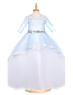 De Baile Longo Vestido para Meninas das Flores - Tule Decorado com Bijuteria com Miçangas Apliques Detalhes em Cristal