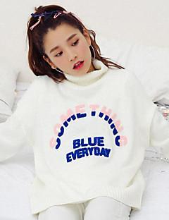 Feminino Padrão Cashmere,Casual Fofo Letra Azul Vermelho Bege Cinza Gola Alta Manga Longa Acrílico Inverno Grossa Micro-Elástica