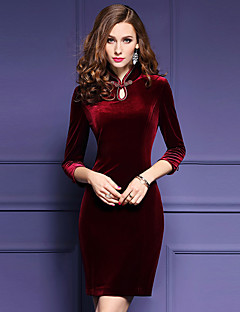 Women's Plus Size / Going out Sexy Bodycon Dress,Solid Stand Above Knee ¾ Sleeve Red Polyester Spring / Fall Mid Rise Micro-elastic Medium