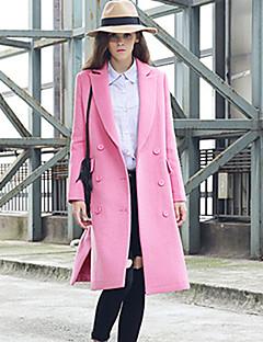 Damen Solide Einfach Lässig/Alltäglich Mantel,Winter Gekerbtes Revers Langarm Rosa Wolle Polyester