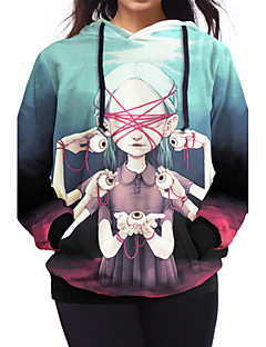 Naiset Rento/arki Boheemi Huppari Painettu Pyöreä kaula-aukko Polyesteri Mikroelastinen Pitkähihainen Kevät Syksy