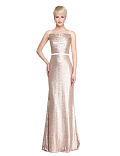 2017 Lanting Bride® Floor-length Sequined Sparkle & Shine Bridesmaid Dress - Sheath / Column Spaghetti Straps with Sash / Ribbon Pleats