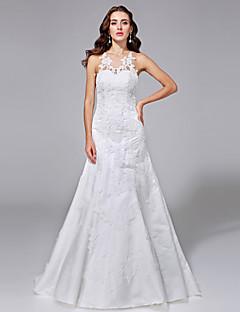Lanting Bride® A-Linie Nadměrné velikosti Svatební šaty - Elegantní & luxusní Open Back / Çiçekli Dantel Dlouhá vlečka KlenotKrajka /