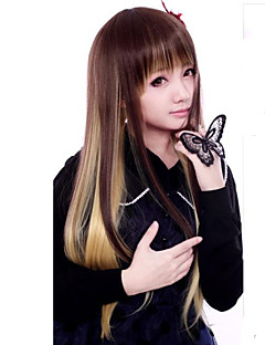 Lolita Wigs Punk Lolita Color Gradient Medium / Straight Brown / Golden Lolita Wig 55 CM Cosplay Wigs Patchwork Wig For Women