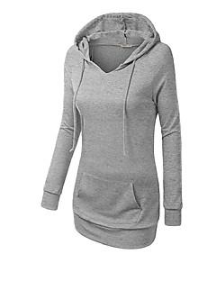 Damen Kapuzenshirt Lässig/Alltäglich Sport Aktiv Einfach Solide überdimensional Rundhalsausschnitt Fleece-Futter Dehnbar Baumwolle Langarm