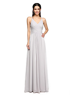 2017 Lanting Bride® Floor-length Chiffon Open Back Bridesmaid Dress - Spaghetti Straps with Side Draping