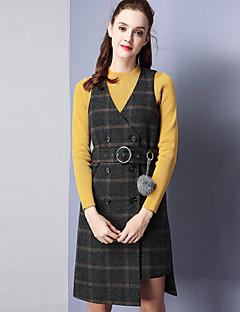 Damen Hülle Kleid-Lässig/Alltäglich Retro Verziert V-Ausschnitt Übers Knie Ärmellos Schwarz Wolle Polyester Herbst Mittlere Hüfthöhe