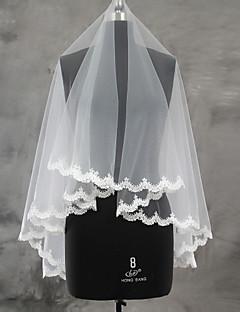 웨딩 면사포 한층 블러셔 베일 손가락 베일 레이스처리된 가장자리 가리비모양 가장자리 명주그물 레이스