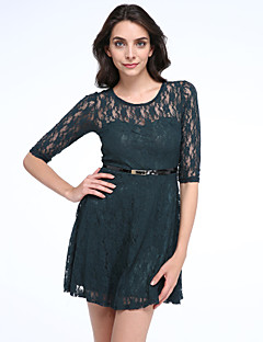Women's Solid/Lace Blue/Red/Beige Dress,Sexy Round Neck 3/4 Sleeve