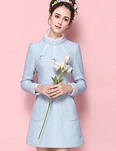 Damen Hülle Kleid-Lässig/Alltäglich Einfach Solide Rundhalsausschnitt Übers Knie Langarm Blau Wolle Acryl Polyester HerbstMittlere