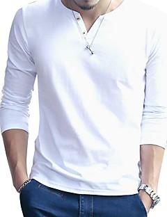 남성 패치 워크 라운드 넥 긴 소매 티셔츠,섹시 심플 캐쥬얼/데일리 블루 화이트 블랙 그레이 그외 봄 가을 중간
