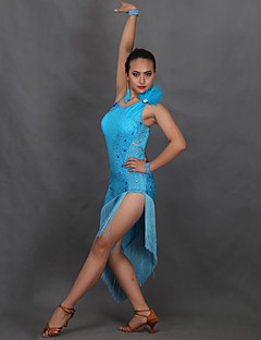 Latin Dance Dresses Women's Performance Milk Fiber Crystals/Rhinestones 1 Piece Sleeveless Dress
