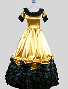 One-Piece/Dress Gothic Lolita Victorian Cosplay Lolita Dress Yellow Solid Short Sleeve Ankle-length Tuxedo For Women Charmeuse