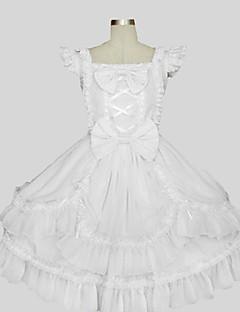 תלבושות לוליטה מתוקה נסיכות Cosplay שמלות לוליטה לבן אחיד ללא שרוולים באורך ברך שמלה ל נשים כותנה