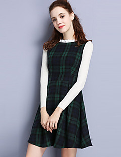 Damen A-Linie Kleid-Lässig/Alltäglich Einfach Verziert Rundhalsausschnitt Übers Knie Langarm Grün Polyester Herbst Mittlere Hüfthöhe