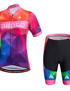 ספורטיבי חולצת ג'רסי ומכנס קצר לרכיבה לנשים שרוול קצר אופנייםנושם ייבוש מהיר חדירות ללחות רך חלק נוח חומרים קלים 3D לוח רצועות מחזירי אור