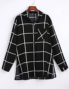 Women's Casual/Daily Simple All Seasons ShirtStriped Shirt Collar Long Sleeve Black Rayon / Polyester Thin
