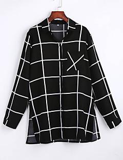 Rayon / Polyester Sort Tynn Langermet,Skjortekrage Skjorte Stripet Alle sesonger Enkel Fritid/hverdag Dame