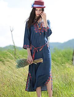 Dame Boheme Casual/hverdag Løstsiddende Kjole Broderi,Rund hals Midi 3/4 ærmelængde Blå Polyester Efterår Alm. taljede Uelastisk Medium