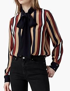 Camicia Da donna Per uscire Casual Semplice Moda città Autunno Inverno,A strisce Rotonda Rayon Poliestere Elastene Rosso Manica lunga