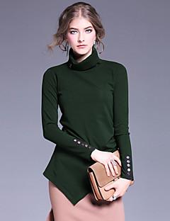 Dame Vintage Casual/hverdag Normal Pullover Ensfarvet,Rød / Sort / Grøn Rullekrave Langærmet Bomuld / Spandex Efterår Medium Uelastisk