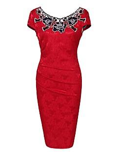 Dámské Vintage Běžné/Denní / Velké velikosti Pouzdro Šaty Výšivka,Krátký rukáv Kulatý Délka ke kolenům Modrá / Červená / HnědáBavlna /
