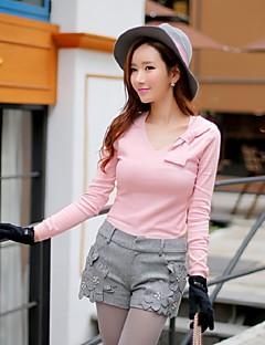 Damen Standard Pullover-Ausgehen Lässig/Alltäglich Party/Cocktail Niedlich Street Schick Anspruchsvoll Solide Rosa Weiß V-Ausschnitt