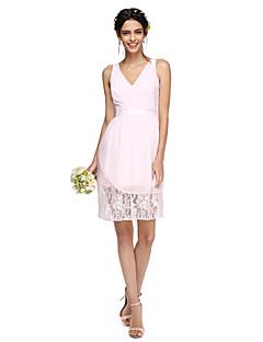 2017 Lanting bride® kolena šifon / krajka vidět skrz družička šaty - výstřih s křídlem