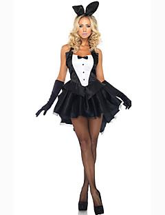 Kostiumy Cosplay Kostium imprezowy Bunny Girls Kostiumy kariery Kostiumy z filmów Czarny Jendolity kolor Ubierać Rękawice Nakrycia głowy