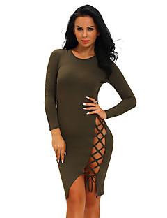 Women's Club Sexy Bodycon DressSolid Crew Neck Knee-length Long Sleeve Black Polyester / Spandex Summer