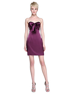 2017 Lanting Bride® Short / Mini Stretch Satin Mini Me Bridesmaid Dress - Sheath / Column Sweetheart with Bow(s)
