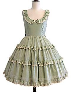 /שמלותחתיכה אחת לוליטה מתוקה אלגנטי Cosplay שמלות לוליטה ירוק בהיר אחיד ללא שרוולים באורך ברך שמלה ל נשים כותנה