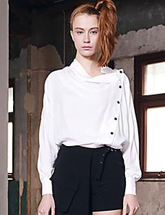 Damen Solide Street Schick Lässig/Alltäglich Hemd,Hemdkragen Winter Langarm Weiß Polyester Mittel