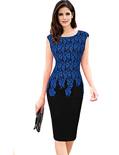 Women's Plus Size / Casual/Daily / Party/Cocktail Sexy / Street chic Sheath DressPatchwork Lace Print Round Neck Knee-length Sleeveless