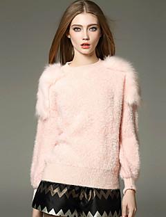 Dame Simpel Casual/hverdag Normal Pullover Ensfarvet,Rosa Rund hals Langærmet Akryl Vinter Tyk Mikroelastisk