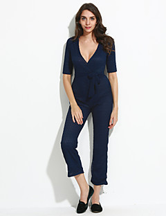 Dames Sexy Eenvoudig Hoge taille Breed Been Club Jumpsuits,Cut Out Effen Zomer Herfst