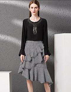 Damen Röcke,A-Linie HahnentrittmusterLässig/Alltäglich Vintage Mittlere Hüfthöhe Asymmetrisch Elastizität Polyester Unelastisch Herbst
