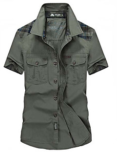 Bomull Beige / Grønn Medium Kortermet,Skjortekrage Skjorte Houndstooth Sommer Enkel Fritid/hverdag Herre