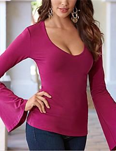 T-shirt Da donna Per uscire Casual Sensuale Semplice Autunno Inverno,Tinta unita A V Cotone Rosso Nero Manica lunga Medio spessore