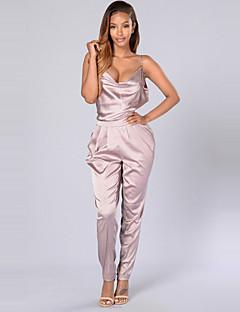 Dames Slank Jumpsuits,Effen Casual/Dagelijks Club Sexy Eenvoudig Blote rug Bandje Mouwloos Medium taille Polyester Micro-elastischZomer