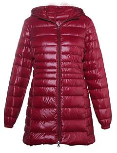 コート ロング ダウン レディース,カジュアル/普段着 ソリッド コットン ポリエステル 中綿なし-シンプル ストリートファッション 長袖 フード付き